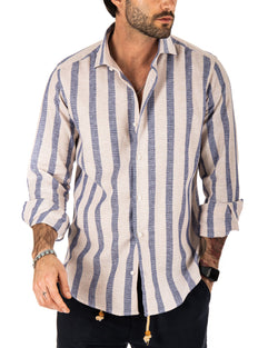 FORMENTERA - CLASSIC SHIRT WITH WIDE STRIPES BEIGE AND BLUE LINEN