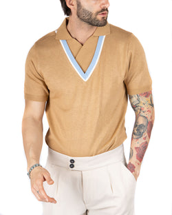NOVAK - TOBACCO POLO SHIRT IN COTTON WITH DOUBLE NECK
