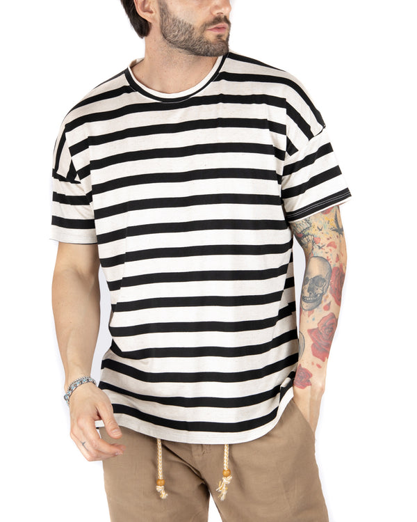 SAILOR - T-SHIRT A RIGHE NERE OVERSIZE