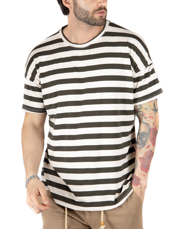 SAILOR - T-SHIRT A RIGHE VERDI OVERSIZE