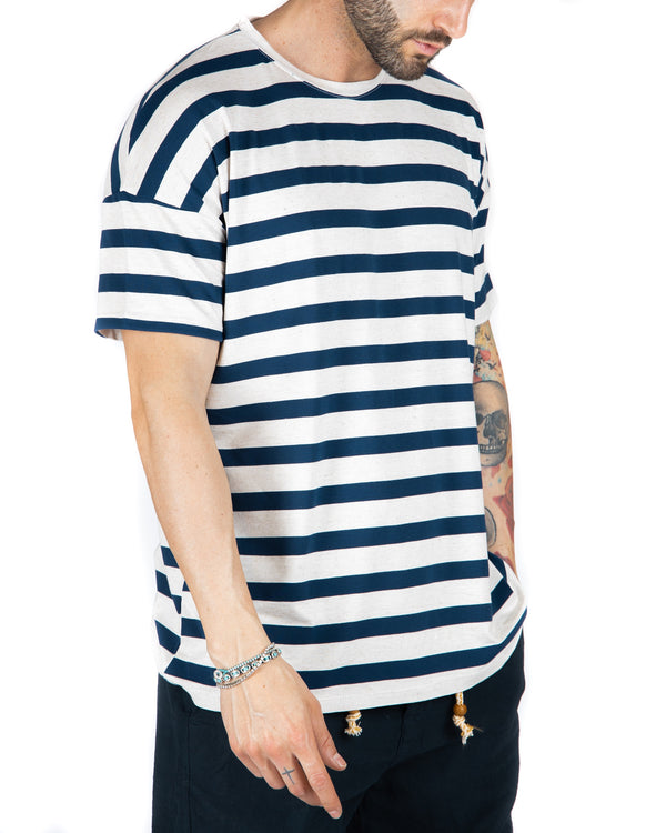 SAILOR - T-SHIRT A RIGHE BLU OVERSIZE
