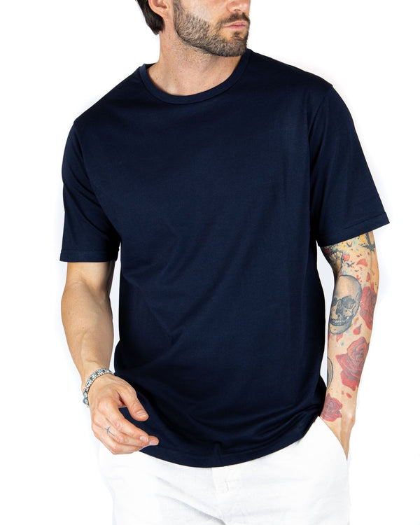 TEE - T-SHIRT BLU BASIC IN COTONE