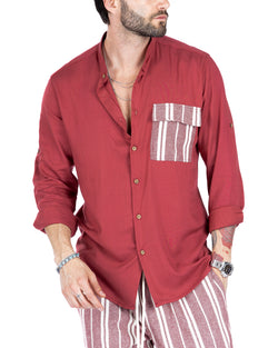 DANDY - BORDEAUX SHIRT WITH STRIPED POCKET