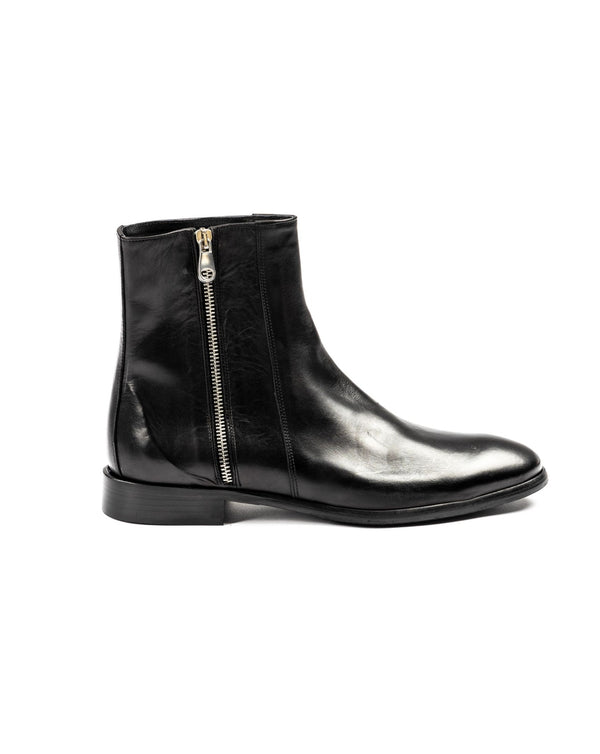 WEST - STIVALETTO IN PELLE NERA CON ZIP