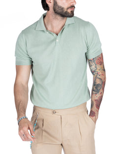 ROGER - MINT COTTON POLO SHIRT WITH ELASTIC