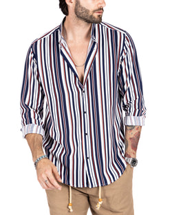 Dighu - viscose shirt with a thousand blue and red stripes