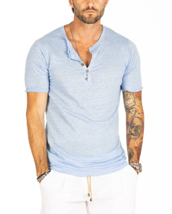 SMERALDA - SERAFINO T-SHIRT WITH FIVE BUTTONS IN SKY LINEN