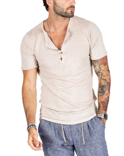SMERALDA - SERAFINO T-SHIRT WITH FIVE BUTTONS IN SAND LINEN
