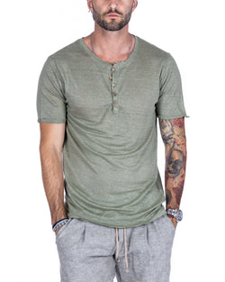 SMERALDA - SERAFINO T-SHIRT WITH FIVE BUTTONS IN SAGE LINEN