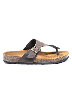 Lapo - taupe thong sandals in nubuck leather