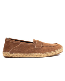 Roma - brown suede moccasin with rope bottom