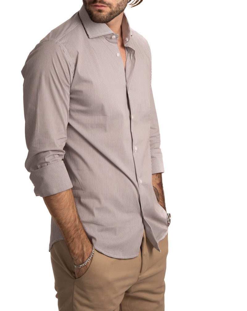 CAMICIA SLIM FIT MILLE RIGHE MARRONE