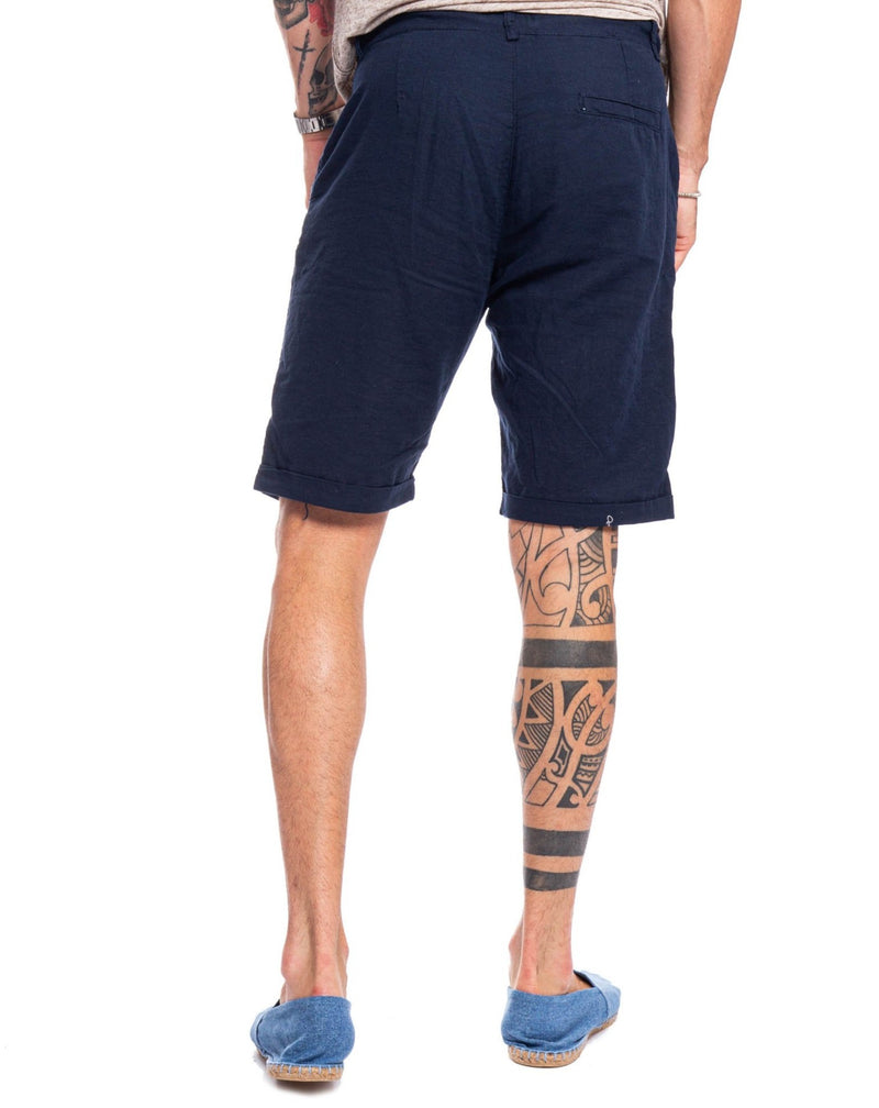 Blue laced linen shorts - Bermuda - SaveOne