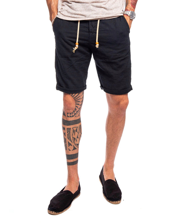 Black laced linen shorts - Bermuda - SaveOne