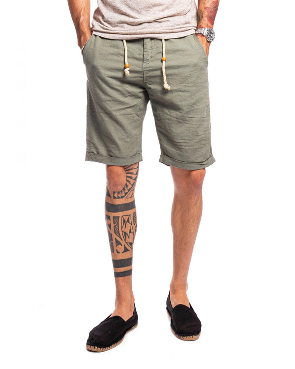 Green laced linen shorts - Bermuda - SaveOne