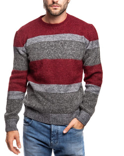 MOHAIR BORDEAUX AND GRAY SWEATER - Sweaters - SaveOne