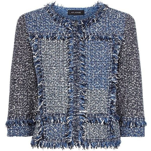 St. John Blue Patchwork Tweed Fringed Jacket