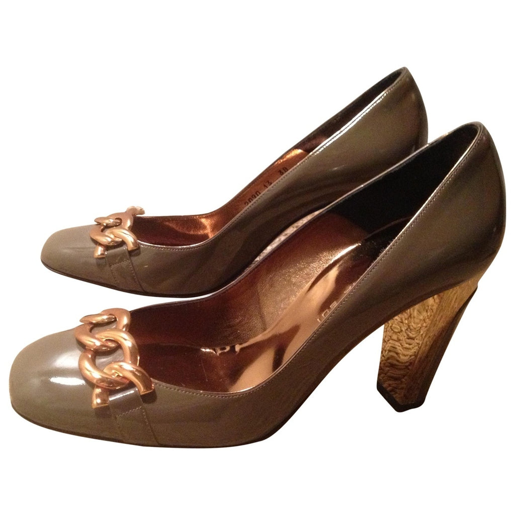 Barbara Bui Gold & Taupe Patent Leather Heels