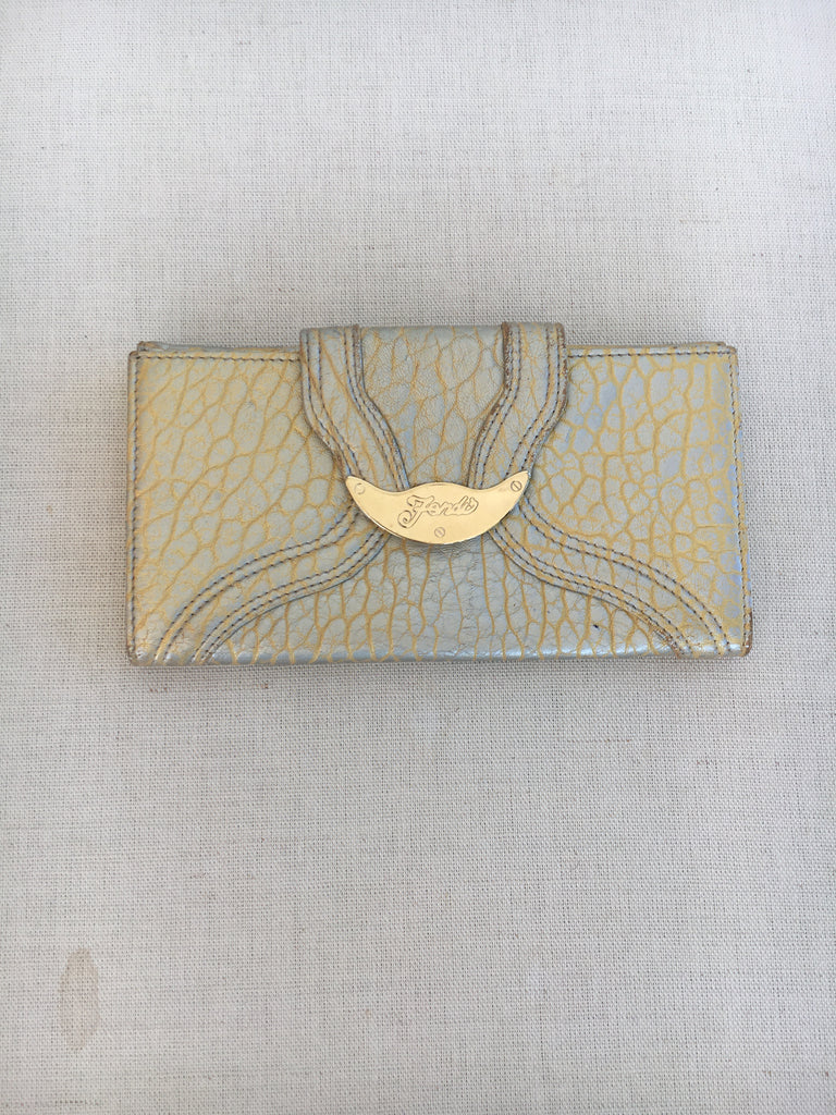FENDI Gold Holographic Textured Leather Wallet