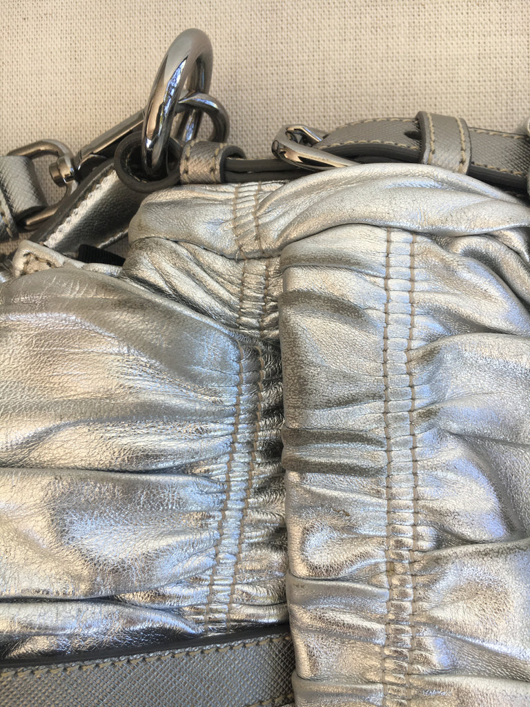 PRADA Cervo Gaufre Silver Leather Messenger Bag