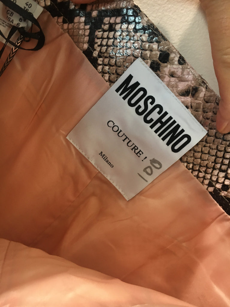 Moschino Couture Leather Snakeskin Pencil Skirt