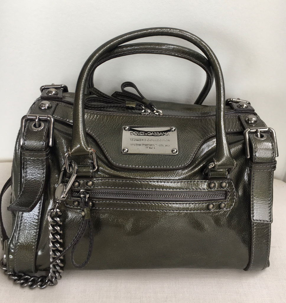 Dolce & Gabbana Olive Green Metallic Shoulder Bag
