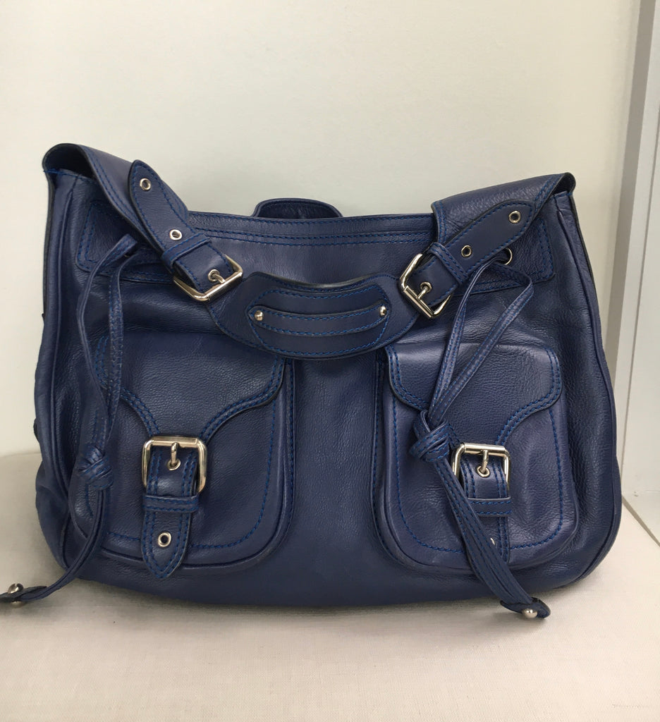 MARC JACOBS Blue Double Pocket Shoulder Bag