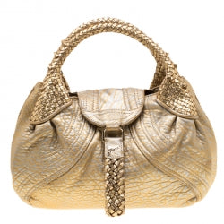Fendi Gold Holographic Textured Leather Spy Bag