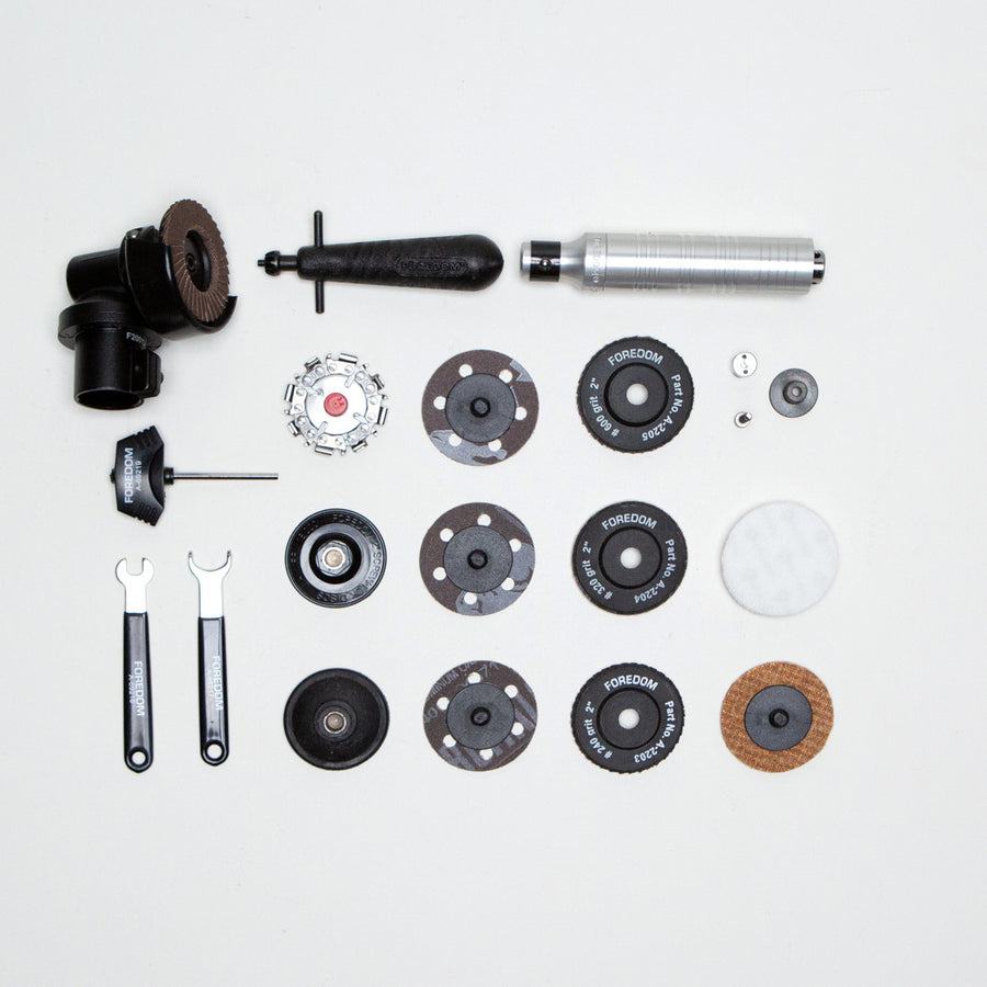 The $225 grinding kit add-on includes:   -Angle grinder with a H.30 handpiece and a variety of sanding, buffing, and grinding wheels and disks   -A kit of tools for every unique adjustment your bonsai skills demand