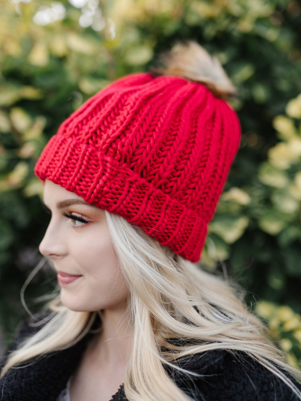 You Hat Me At Hello Red Cable Knit