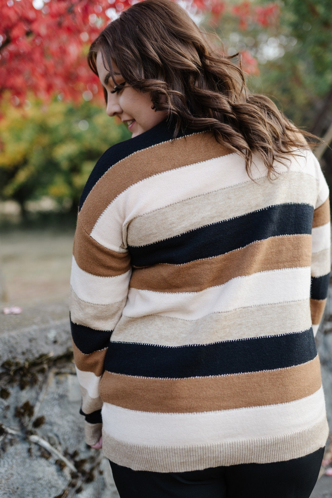 Keep Me In Mind Color Block Sweater In Black Mocha