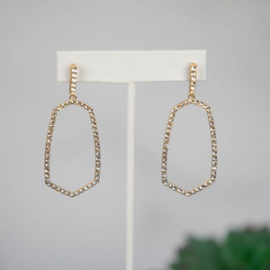 Roxanne Pave Dangle Earring in Smoke or Clear