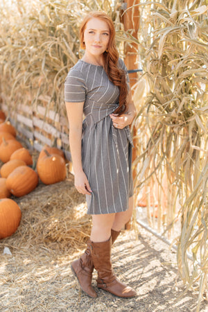 Angles And Stripes Dress in Gray