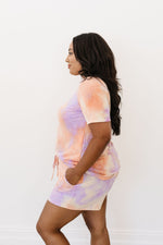 Brushed Knit Tie Dye Lounge Top In Coral