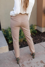 Business Woman Paperbag Pants in Khaki