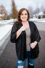 Rise To The Occasion Black Sequined Cardigan