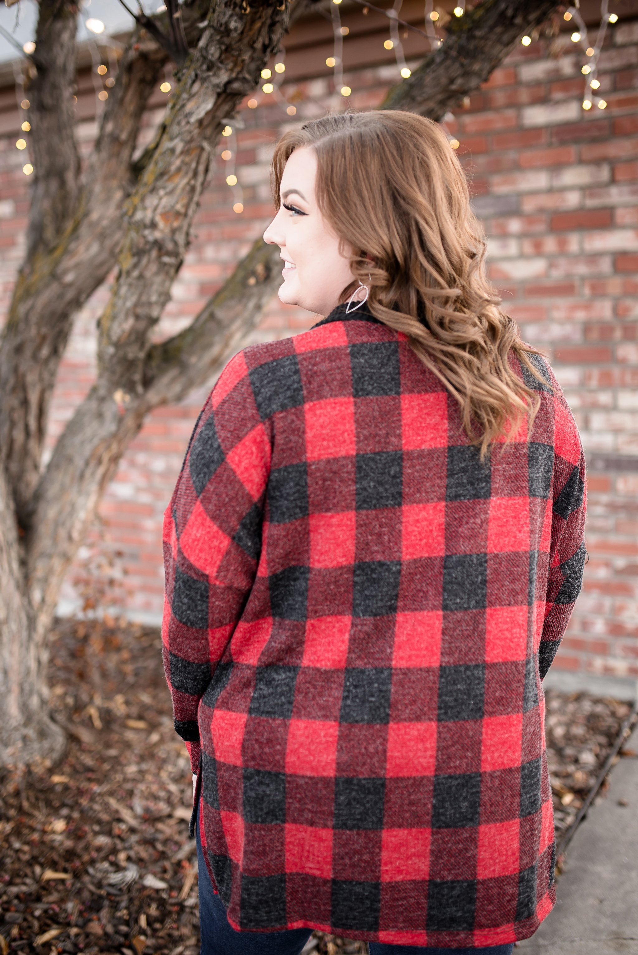 Plaid Tidings Lace Up Top