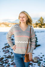 Return To Sender Sweater In Soft Gray & Pink