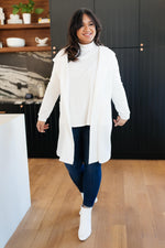 Hooded and Laced Cardigan in Off-White