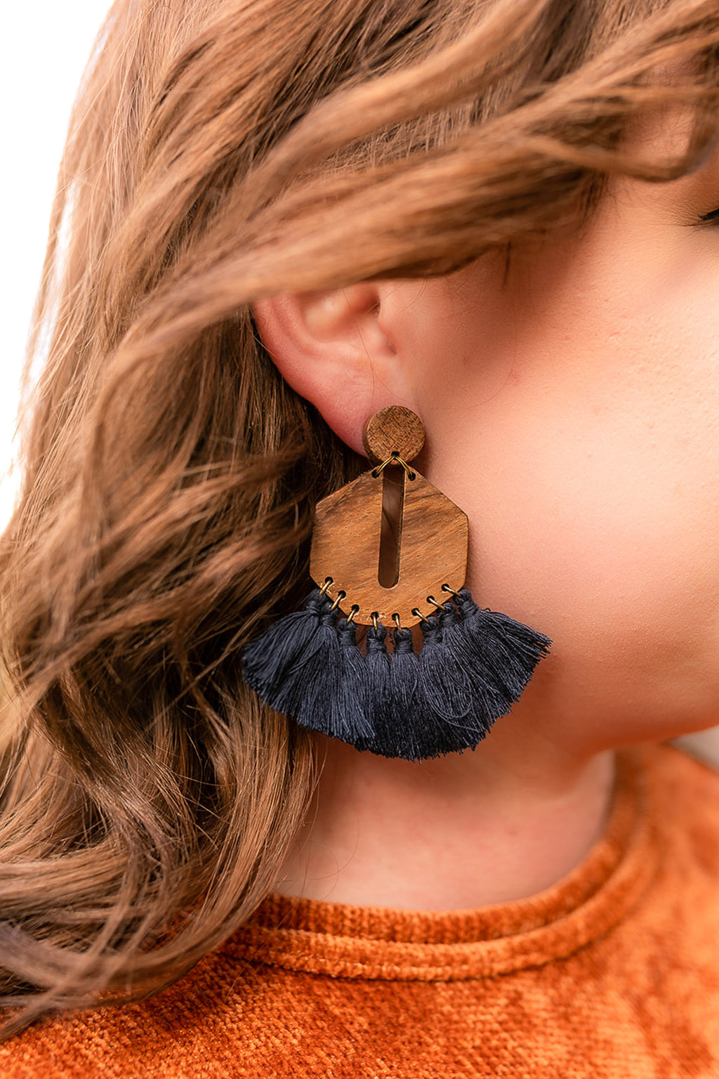 Stay Boho Earrings in Navy