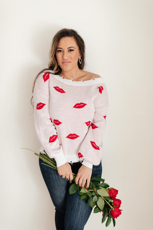 Luscious Lips Top in White