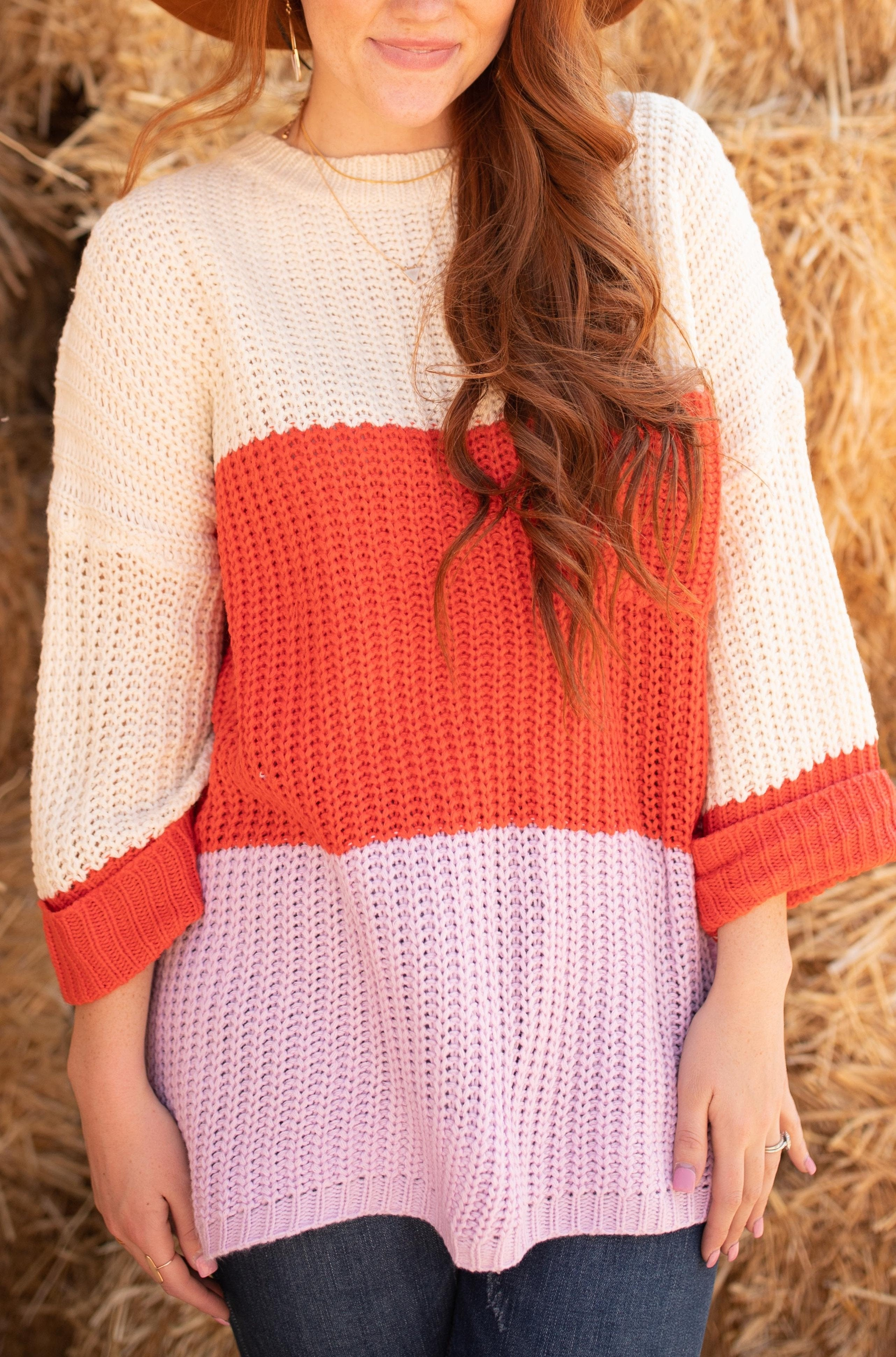 Three Times The Color Sweater in Lavender Combo