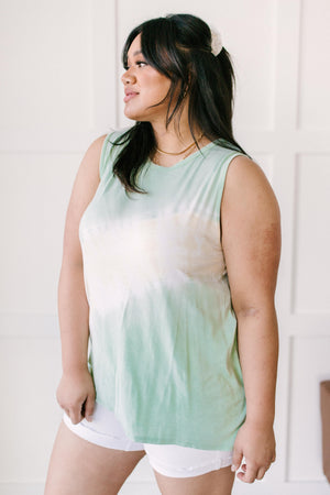 Diagonally Tie Dye Tank In Mint