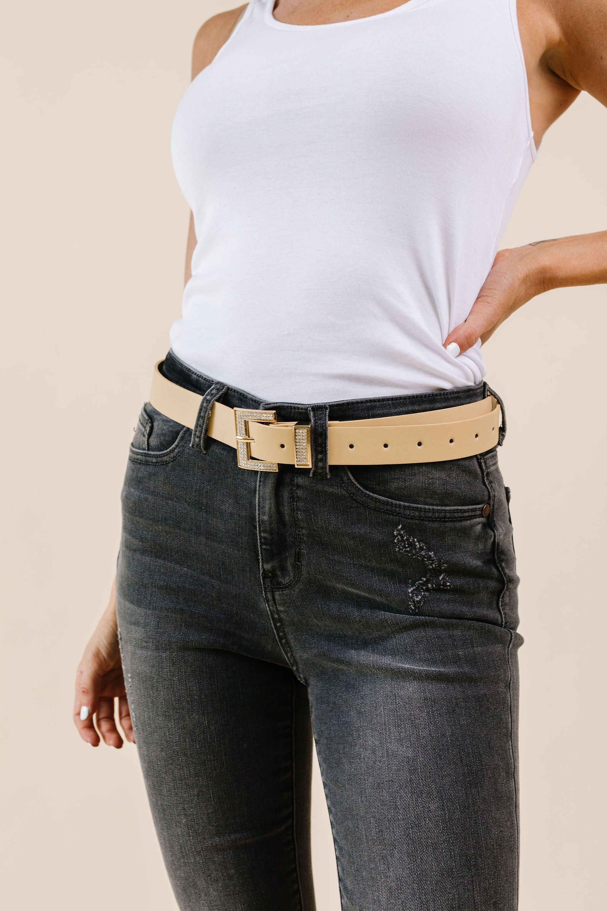 Just A Little Bling Belt In Natural