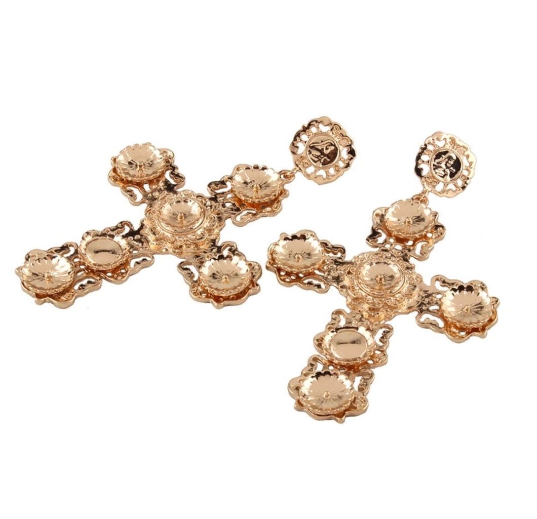 KOKO GOLD CROSS EARRINGS