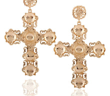 Load image into Gallery viewer, KOKO GOLD CROSS EARRINGS