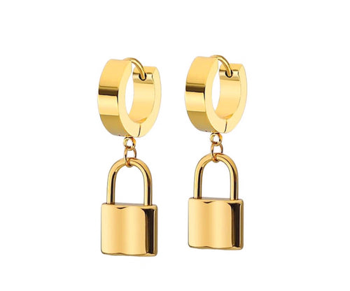 MIMI GOLD PADLOCK EARRINGS