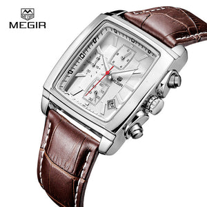 Genuine Leather Men Chronograph Watch