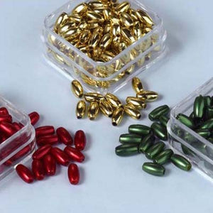 Acrylic Pearl Rice Bead Trio Set. Red, Dark Green & Gold