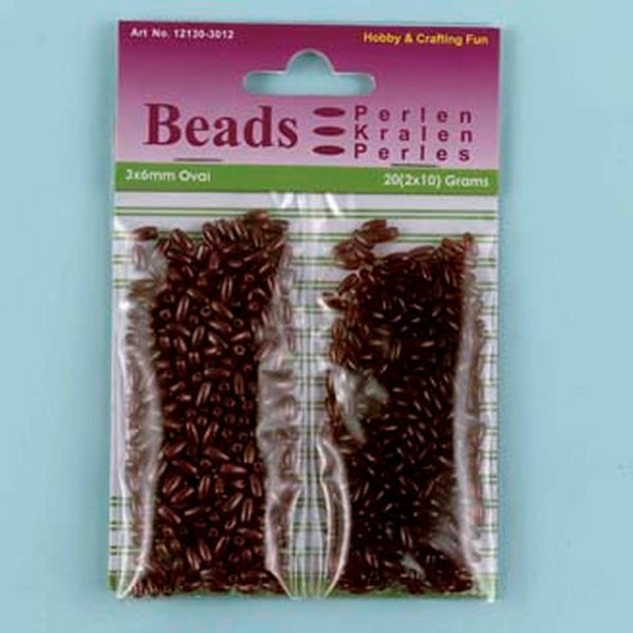 Acrylic Rice Bead Duo Set Brown